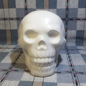 Ceramic Skull Cookie Jar Candy Lollipop Goth Grung